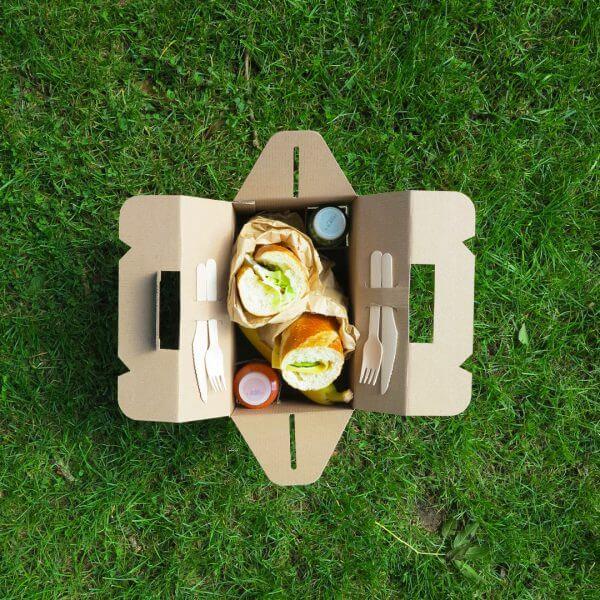 Ontbijtbox voor catering van karton